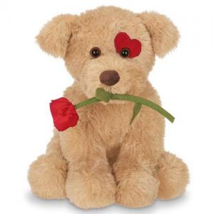 valentine day gift soft plush stuffed dog with rose