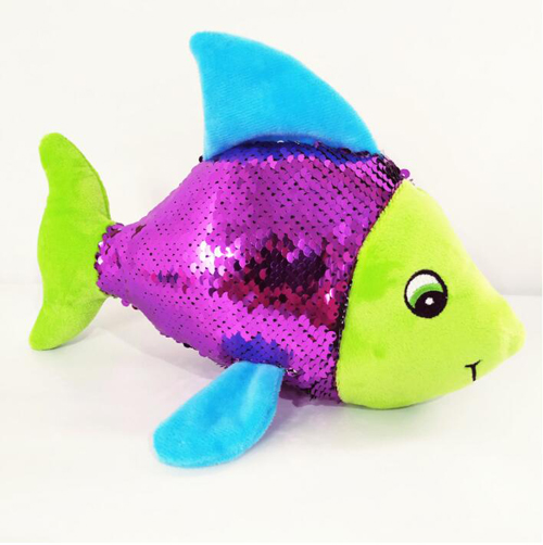 Customized cute plush sequin tropical fish toy