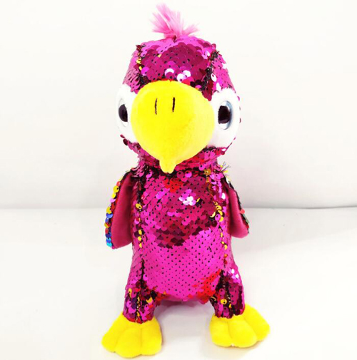 Color Reversible Sequin Big Eyes Parrot Plush Toy