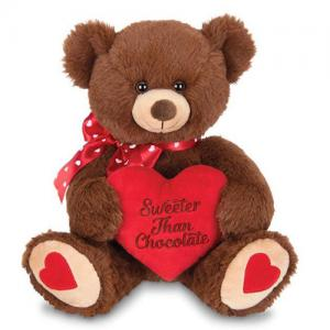 Customized animated plush brown teddy bear valentine with heart