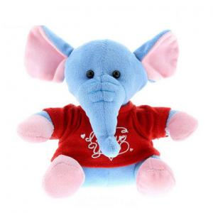 Super Soft Plush Valentine Blue Elephant with red t-shirt