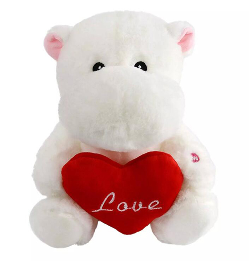 Glow LED Night Light Stuffed Hippo Hold Heart for Valentine Gifts