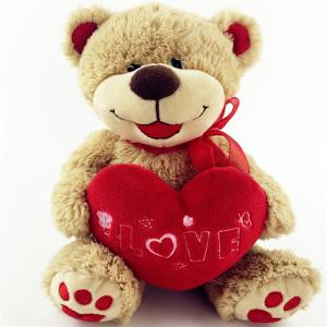 Valentine plush animal plush teddy bear with red heart