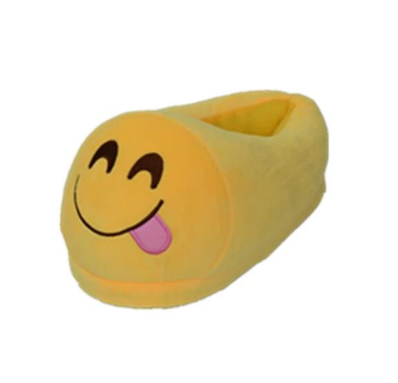 Home Plush Emoji Yellow Soft Warm Slipper for Adults