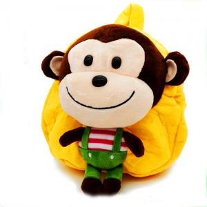 hot sell kids kindergarten school bag with stuffed plush animal toy monkey