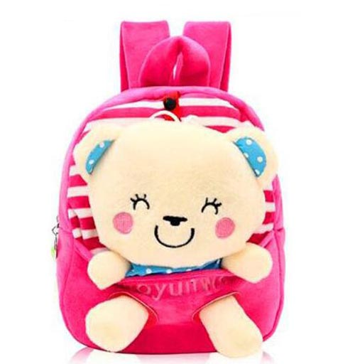 kids plush book bag schoolbag with cute stuffed animal toy