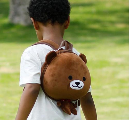 SUPERCUTE custom animal black bear backpack for children, 3D cute school plush teddy bear backpack