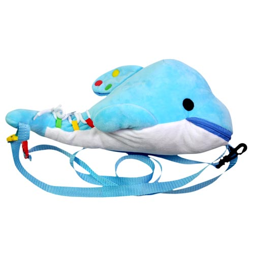 backpack manufacturers plush dolphin children backpack with early learning education toys