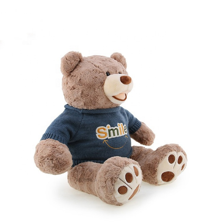 Rose Velvet Material Large  Laugh Teddy Bear 80cm With Sweater America Huge Giant Teddy Bear With Paw ​