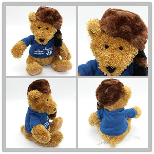 newest design blue t-shirt soft brown plush sitting huge giant teddy bear
