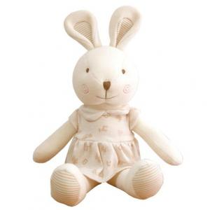 Customized 11 inches Lovely 100% Organic Cotton Baby No Dyeing Natural Cotton Organic Animal Toy