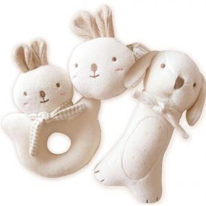 Super Soft 100% Organic Cotton Baby Rabbit Shaped Doll Plush Toy