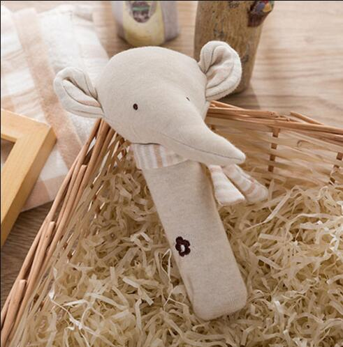 wholesale dropshipping Baby organic cotton elephant / rabbit / bear hand BB stick hand grab rattle stick set baby comfort toys