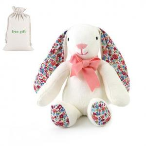 OEM long ear cute white stuffed GOTS organic cotton baby plush bunny rabbit soft toy