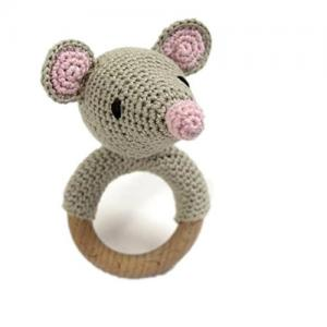 Baby wooden gift organic teething toy knit mouse rattle