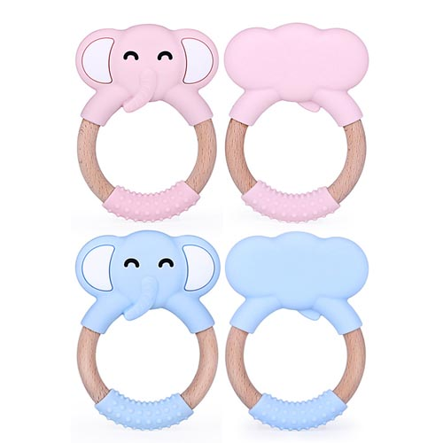 Silicone Teethers Cartoon elephant Wood Teething Wooden Ring DIY Baby Rattles Gift Baby Teethers toy