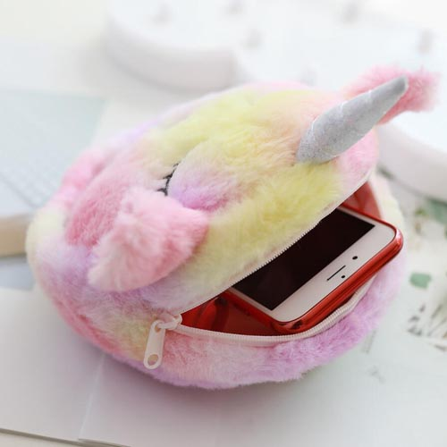New Design Fashion Kids Plush Animal Messenger Bag Soft Plush Unicorn Handbag Chains Pack