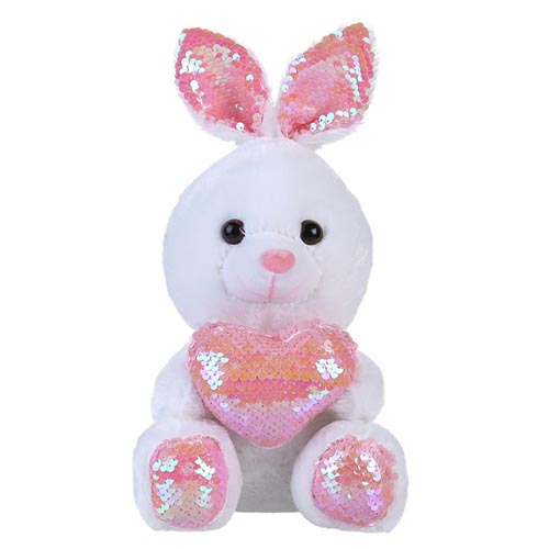 2020 pink plush rabbit toy valentine gifts sequin bunny plush toy with heart