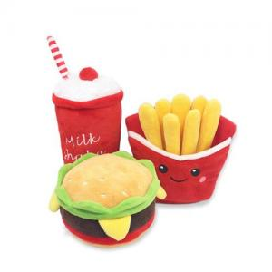 The New Burger pet Plush toy French fries Burger Milkshake cup Plush Voice toy