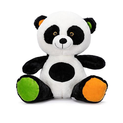 soft panda toy with green ears and feet