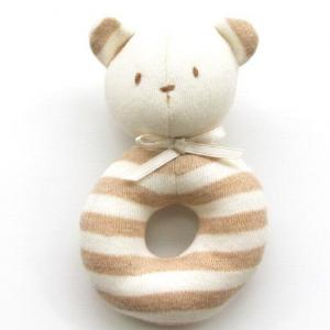 Organic bear rattle toy