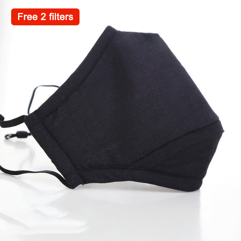 PM 2.5 Breathable Face Mouth Mask 5 Layers Cotton Washable Reusable air Pollution Haze Mask With 2 Carbon Filter